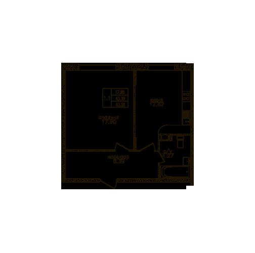 Планировка Однокомнатная квартира площадью 43.2 кв.м в ЖК «Юнтолово»