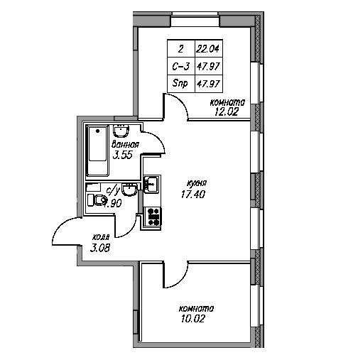 Планировка Двухкомнатная квартира площадью 47.97 кв.м в ЖК «жк Юнтолово»