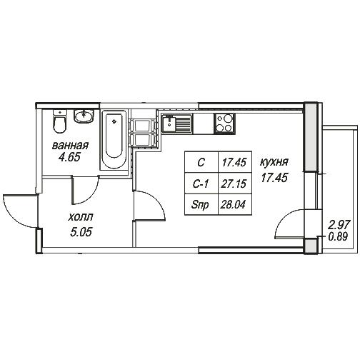 Планировка Однокомнатная квартира площадью 28.04 кв.м в ЖК «Юнтолово»