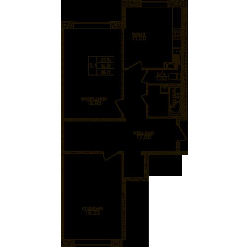 Планировка Двухкомнатная квартира площадью 66.2 кв.м в ЖК «Юнтолово»