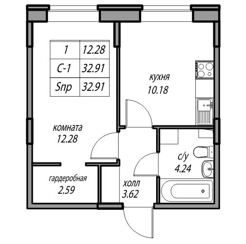 Планировка Однокомнатная квартира площадью 32.91 кв.м в ЖК «жк Юнтолово»