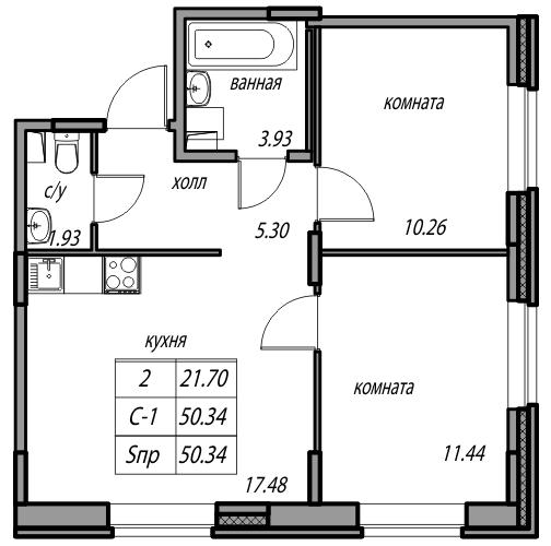Планировка Двухкомнатная квартира площадью 50.34 кв.м в ЖК «Юнтолово»