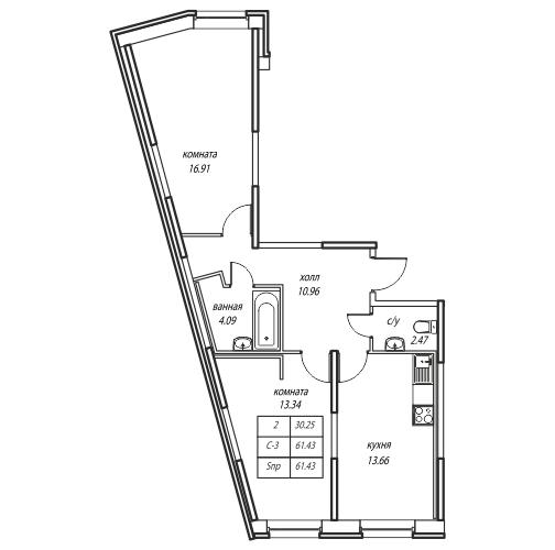 Планировка Двухкомнатная квартира площадью 60.2 кв.м в ЖК «Юнтолово»