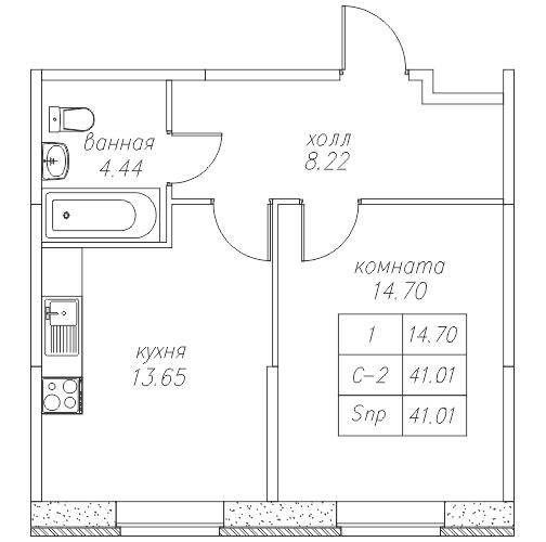 Планировка Однокомнатная квартира площадью 41.2 кв.м в ЖК «Юнтолово»