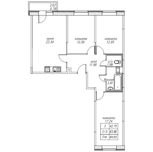 Планировка Трёхкомнатная квартира площадью 84.65 кв.м в ЖК «жк Юнтолово»