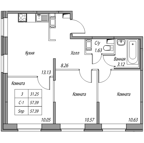Планировка Трёхкомнатная квартира площадью 57.39 кв.м в ЖК «Юнтолово»