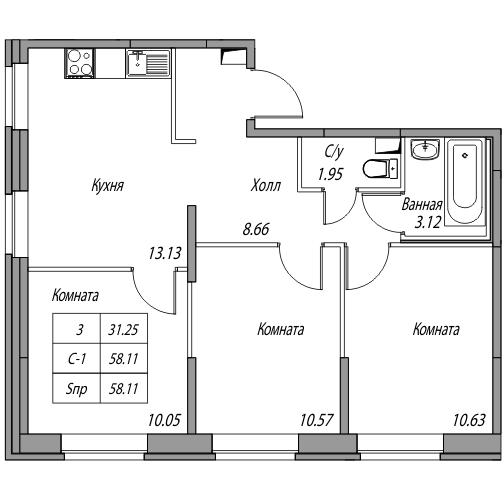 Планировка Трёхкомнатная квартира площадью 58.11 кв.м в ЖК «Юнтолово»