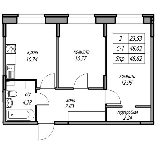Планировка Двухкомнатная квартира площадью 48.62 кв.м в ЖК «жк Юнтолово»