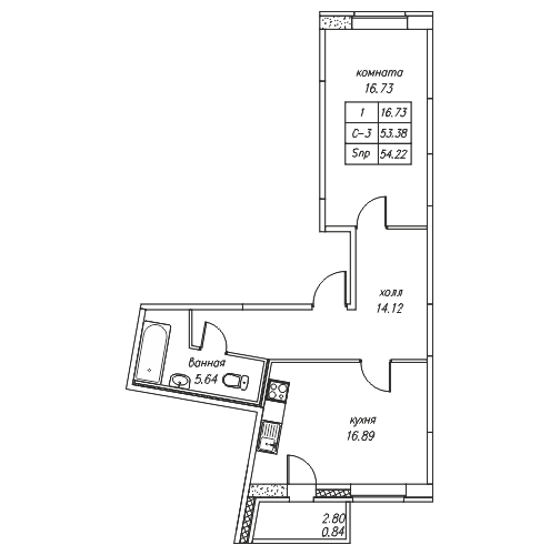 Планировка Однокомнатная квартира площадью 54.2 кв.м в ЖК «Юнтолово»