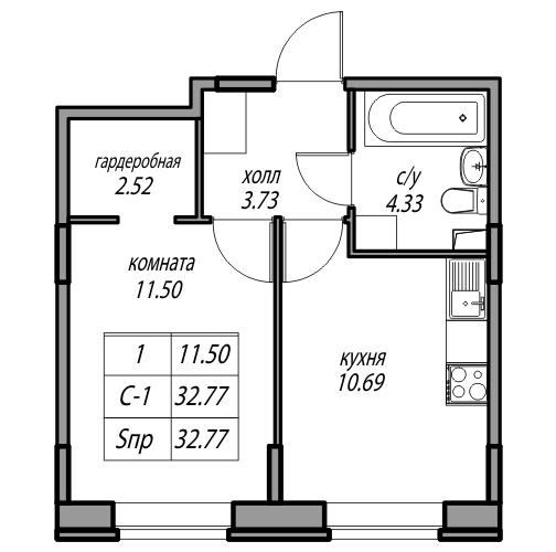 Планировка Однокомнатная квартира площадью 32.77 кв.м в ЖК «жк Юнтолово»